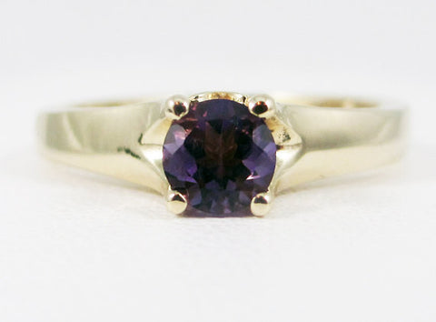 Amethyst 14k Yellow Gold Tulilp Solitaire Ring