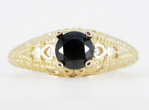 Black CZ 14k Yellow Gold Filigree Ring, Solid 14 Karat Gold Ring, 14k Gold Black CZ Ring, Yellow Gold Filigree Ring