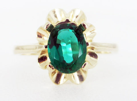 Emerald 14k Yellow Gold Oval Crown Ring, May Birthstone Ring, 14k Gold Emerald Oval Ring, Yellow Gold Emerald Ring, 14k Gold Ring