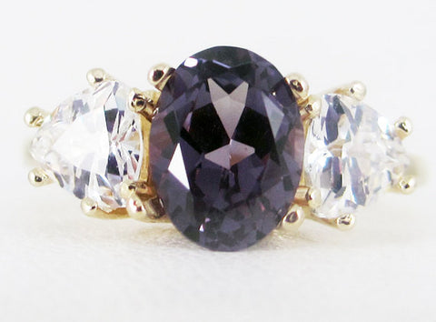 Alexandrite Oval and Trillion CZ 14k Yellow Gold Ring