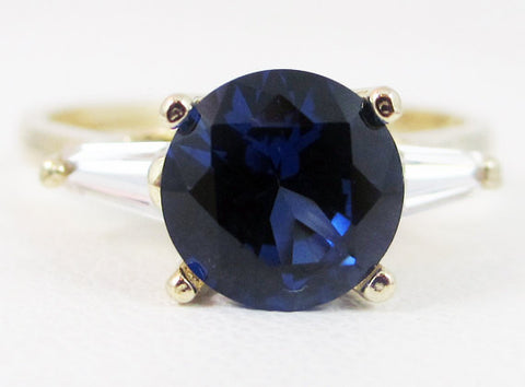 Blue Sapphire Baguette Accented 14k Yellow Gold Ring, September Birthstone, Solid 14 Karat Gold Ring, 14k Gold Blue Sapphire Ring