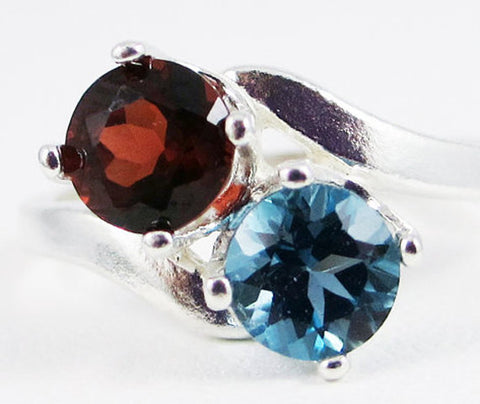 Garnet and London Blue Topaz Two Stone Ring Sterling Silver, January Birthstone Ring, December Birthstone Ring, Blue Topaz Ring