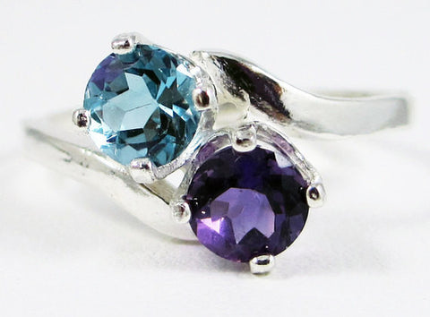 Amethyst and London Blue Topaz Ring, 925 Sterling Silver Ring, February Birthstone Ring, London Blue Topaz Ring, Two Stone Ring