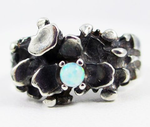 Oxidized Opal Nugget Ring Sterling Silver, Natural White Opal Ring, Oxidized Sterling Silver Ring, 925 White Opal Ring