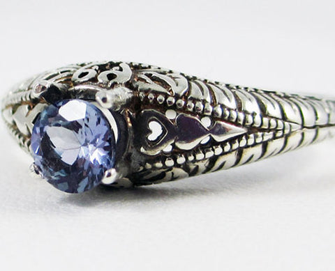 Tanzanite Oxidized Ring Sterling Silver, Natural Tanzanite Ring, Oxidized Sterling Ring, Tanzanite Solitaire Ring, 925 Sterling Silver