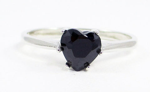 Black CZ Heart Ring Sterling Silver, Cubic Zirconia Ring, Black Stone Ring, Black CZ Ring, 925 Black CZ Ring