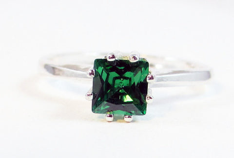 Emerald CZ Princess Cut Ring Sterling Silver, Cubic Zirconia Ring, Green CZ Ring, 925 Ring, 925 Sterling Silver Ring