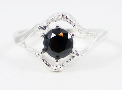 Black CZ Textured Ring Sterling Silver, Cubic Zirconia Ring, Black Gemstone Ring, 925 CZ Ring, Black CZ Ring, 925 Sterling Silver Ring