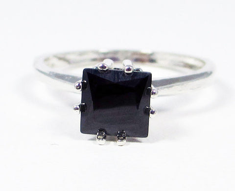 Princess Cut Black CZ Ring Sterling Silver, Cubic Zirconia Ring, Square Cut Black CZ Ring, Sterling Silver Black CZ Ring, 925 Sterling Ring