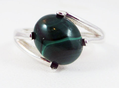 Malachite Oval Cabochon Ring Sterling Silver, Natural Green Malachite Ring, Green Malachite Gemstone Ring, 925 Malachite Ring