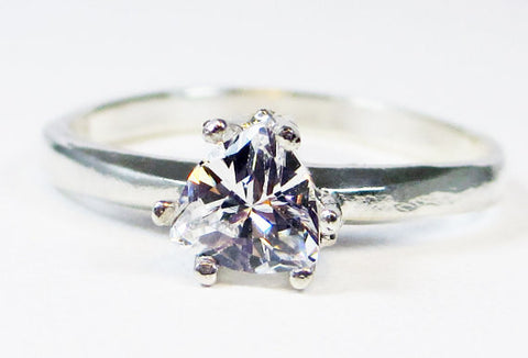 White CZ Trillion Ring Sterling Silver, Cubic Zirconia Ring, Sterling Silver Cz Ring, 925 Cz Ring, Sterling Trillion Ring
