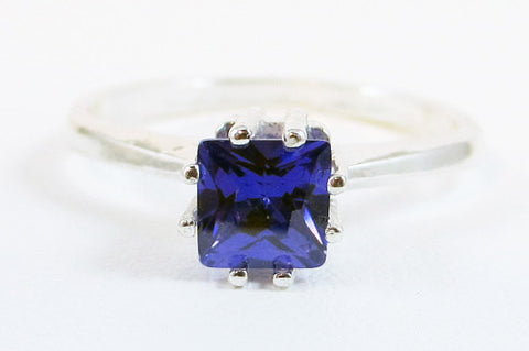 Violet Princess Cut CZ Ring Sterling Silver, Cubic Zirconia Ring, Sterling Silver Cz Ring, 925 Cz Ring, Square Purple Cz Ring