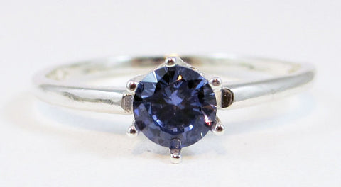 Tanzanite CZ Solitaire Ring Sterling Silver, Cubic Zirconia Ring, Sterling Silver Cz Ring, 925 Cz Ring, Tanzanite Solitaire