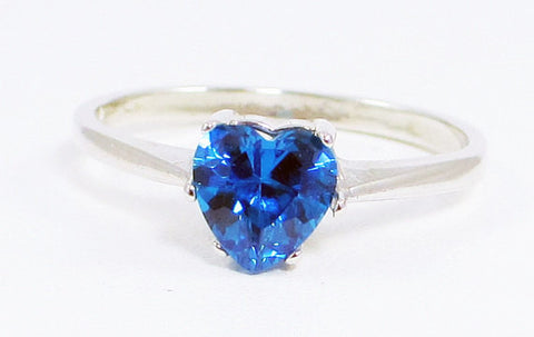 Swiss Blue CZ Heart Ring Sterling Silver, Cubic Zirconia Ring, Sterling Silver Cz Ring, 925 Cz Ring, Blue Heart Ring