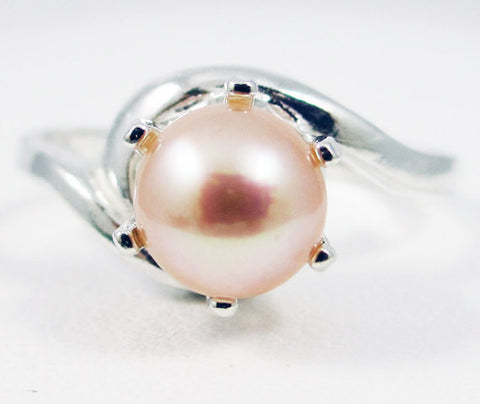 Peach Pearl Bypass Solitaire Ring, 925 Sterling Silver, June Birthstone Ring, Genuine Pearl Ring, Natural Peach Freshwater Pearl Ring