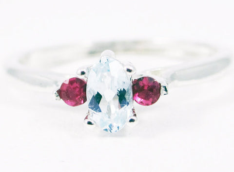 Small Aquamarine Oval and Ruby Accent Ring Sterling Silver, 925 Ring, March Birthstone Ring, Natural Aquamarine, Ruby Accent Ring, SS Ring