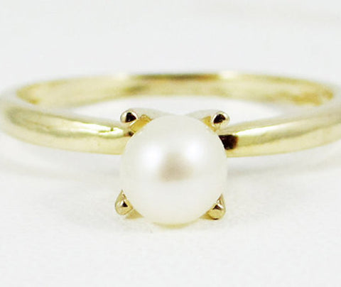 White Freshwater Pearl Ring 14k Yellow Gold, June Birthstone Ring, Solid 14 Karat Gold Ring, 14k Yellow Gold Ring, Pearl Solitaire Ring