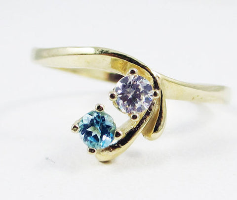 Swiss Blue Topaz and White CZ Ring 14k Yellow Gold, Solid 14 Karat Gold Ring, December Birthstone Ring, April Birthstone Ring Two Stone Ring