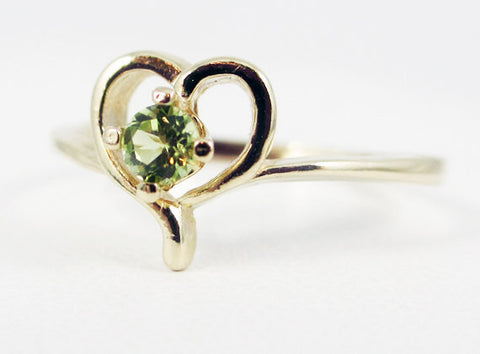 Peridot Petite Heart Ring 14k Yellow Gold, Solid 14 Karat Gold Ring, August Birthstone Ring, 14k Peridot Ring, Peridot Heart Ring
