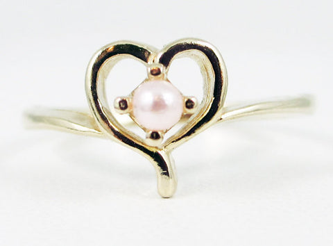 Pink Pearl Petite Heart Ring 14k Yellow Gold, June Birthstone Ring, Pink Pearl Heart Ring, Solid 14 Karat Gold Ring, Yellow Gold Heart Ring