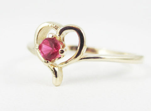 Ruby Petite Heart Ring 14k Yellow Gold, July Birthstone Ring, Ruby Heart Ring, Solid 14 Karat Gold Ring, 14k Gold Ruby Ring, Heart Ring