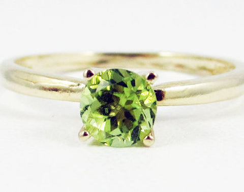 Peridot Solitaire Ring 14k Yellow Gold, August Birthstone Ring, 14k Gold Peridot Ring, Solitaire Peridot Ring, Solid 14 Karat Gold Ring