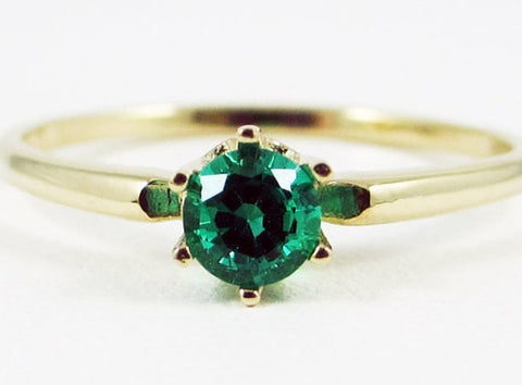 14k Yellow Gold Emerald Solitaire Ring, May Birthstone Ring, 14k Gold Emerald Ring, Emerald Solitaire Ring, Solid 14 Karat Gold Ring