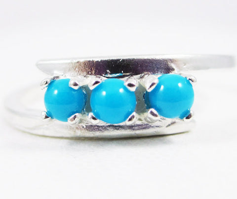 Sleeping Beauty Turquoise Three Stone Ring Sterling Silver, December Birthstone Ring, Sleeping Beauty Turquoise Ring, Natural Turquoise Ring