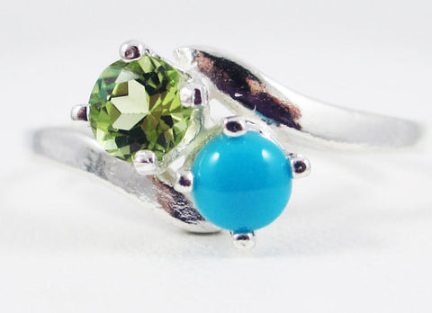 Peridot and Sleeping Beauty Turquoise Ring Sterling Silver, December Birthstone Ring, Sleeping Beauty Turquoise Ring, Two Stone Ring