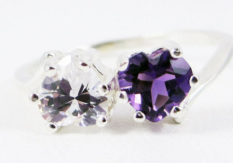 Amethyst and White Topaz Double Heart Ring Sterling Silver