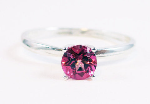 Pink Topaz Solitaire Ring Sterling Silver, 925 Topaz Ring, Pink Topaz Ring, Pink Topaz Solitaire Ring, Sterling Silver Solitaire Ring