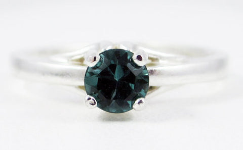 Green Tourmaline Solitaire Ring Sterling Silver, Natural Green Tourmaline Ring, October Birthstone Ring, 925 Sterling Tourmaline Ring