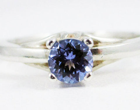 Natural Tanzanite Solitaire Ring Sterling Silver, 925 Tanzanite Solitaire Ring, Unheated Purple Tanzanite Ring, 925 Ring