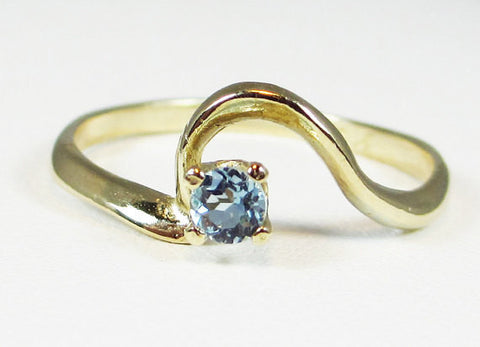 14k Yellow Gold Aquamarine Ring, Solid 14 Karat Gold Ring, March Birthstone Ring, 14k Gold Aquamarine Ring, Small Natural Aquamarine Ring