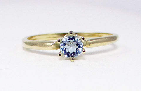 14k Yellow Gold Aquamarine Solitaire Ring, March Birthstone Ring, Solid 14 Karat Gold Ring, Engagement Ring, 14k Gold Aquamarine Solitaire