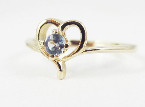 Aquamarine Petite Heart Ring 14k Yellow Gold, March Birthstone Ring, Solid 14 Karat Gold Ring, Aquamarine Heart Ring, Natural Aquamarine