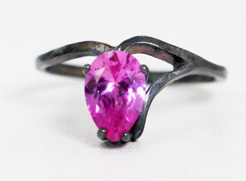Oxidized Pink Sapphire Pear Ring Sterling Silver, Oxidized Sterling Ring, Pink Sapphire Ring, Pear Shaped Ring, Oxidized 925 Ring