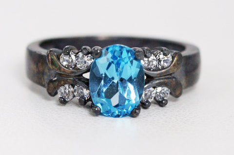 Oxidized Oval London Blue Topaz Ring Sterling Silver 925, December Birthstone Ring, Oxidized Engagement Ring, Oxidized Blue Topaz Oval Ring