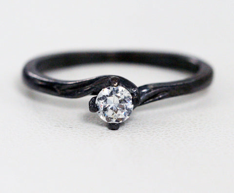 Oxidized Sterling Silver White CZ Solitaire Engagement Ring, Oxidized CZ Ring, Oxidized Sterling Ring, 925 Sterling Silver Ring