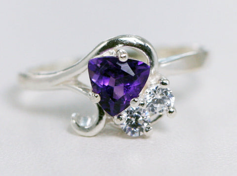 Amethyst Trillion and CZ Accent Ring Sterling Silver