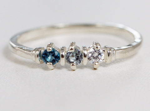 London Blue Topaz, Aquamarine, and White CZ Ring Sterling Silver, Mother's Ring, Three Stone Ring, Wedding Band, Sterling Silver Ring