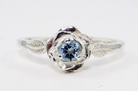 Aquamarine rose ring sterling silver