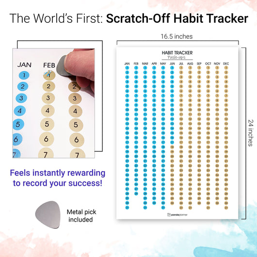 Habit Tracker Calendar - Scratch Off Habit Poster - Clear Visual Habit Progress; Accountability Journal for Hitting Your Goals - by Panda Planner Habit Tracker Poster Panda Planner
