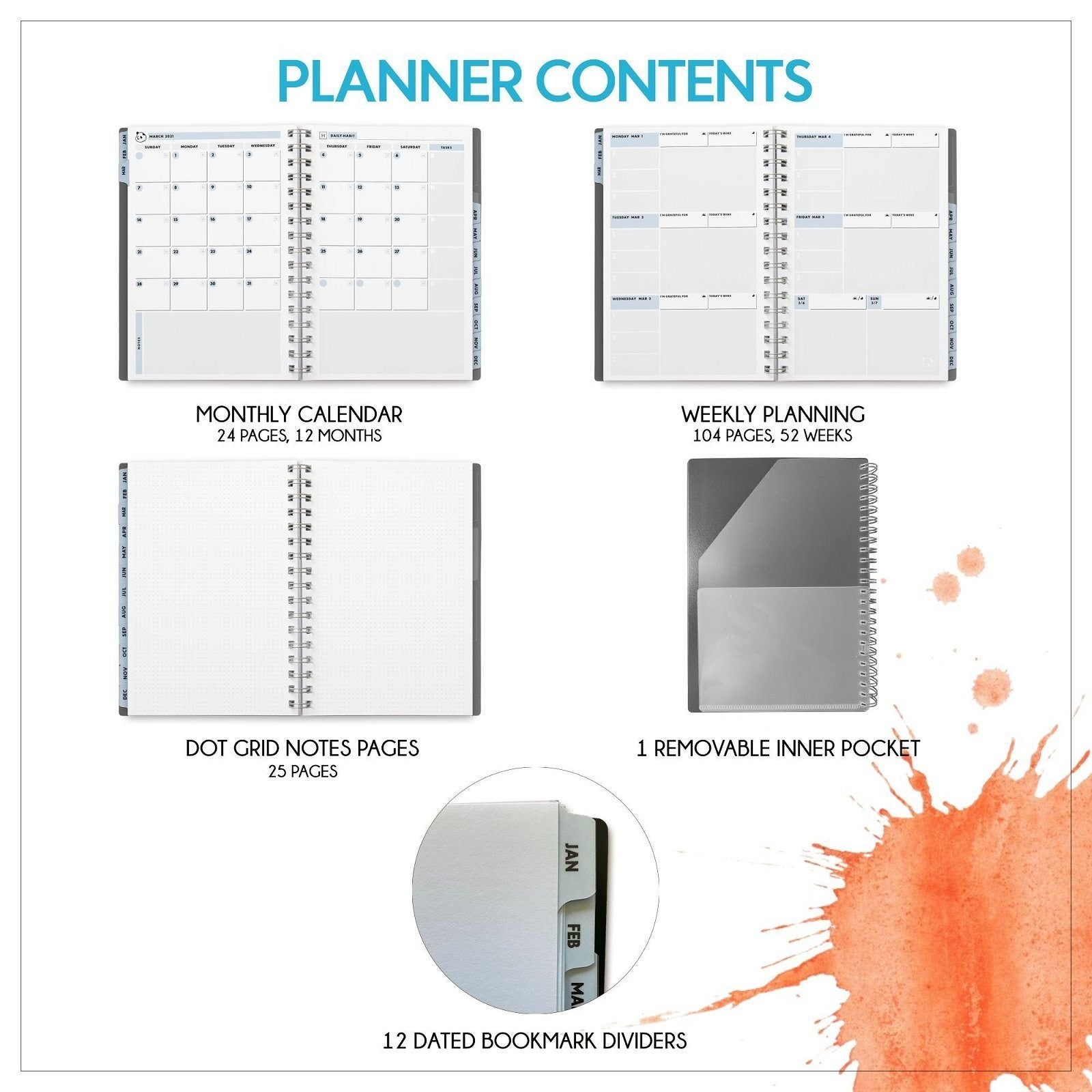 "2021 Weekly Planner 2.0 by Panda Planner (Dated - Gray) - 1 Year Monthly Calendar and Weekly Organizer Notebook - Spiral Bound Wire Binding 12 Month Weekly Planner - 8.25"" x 5.75"" Panda Planner"