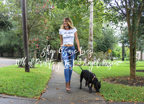 Woman Walking Rescue Dog - ShopTristin