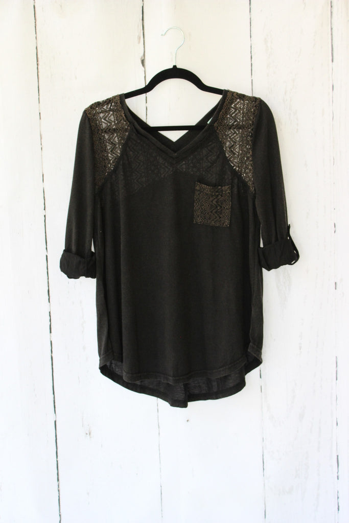 Lace Inset Roll Tab Pocket Top