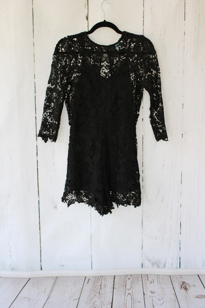 Lace Crochet Open Back Romper - Black Romper- Tristin