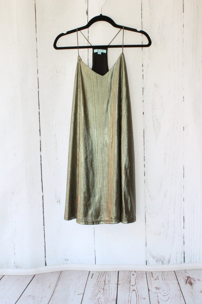 Gold Metallic Shift Party Dress Dresses- Tristin