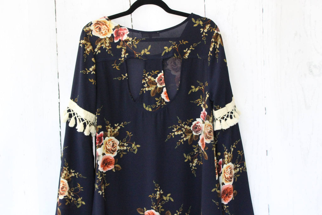 Floral Bell Sleeve Shift Babydoll Dress Dresses- Tristin