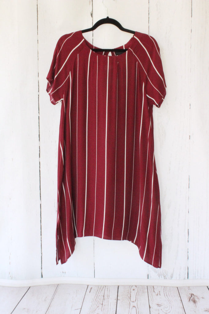 Burgundy Stripe Shift Sharkbite Hem Dress